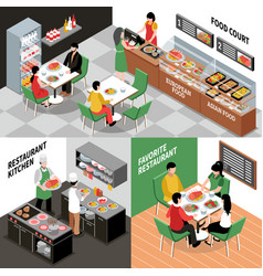 restaurant interior compositions set vector image vector image