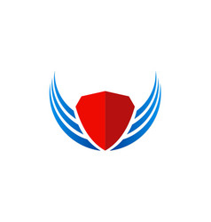 shield wing protect logo vector image vector image