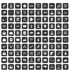 100 interaction icons set black vector