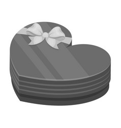 a box in the form of a red heart a gift to a vector image