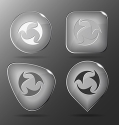 Abstract recycle symbol Glass buttons vector image