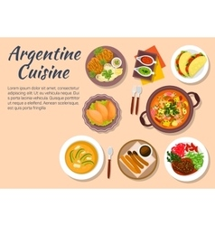 Authentic dishes of argentine cuisine vector