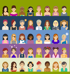 avatar big set of women vector image