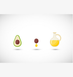 avocado oil flat icons set vector image