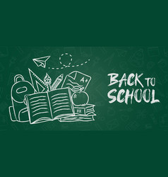 back to school chalk backpack banner green board vector image