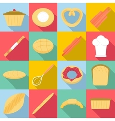 Bakery products icons set flat style vector image