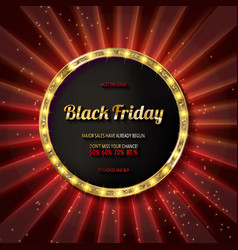 Black friday special offer on gold badge vector