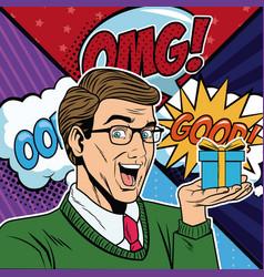 businessman with bubbles pop art cartoon vector image