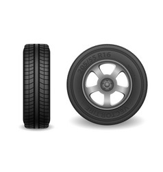 car wheel isolated on white realistic sport car vector image