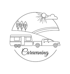 Caravaning tourism outline background vector image