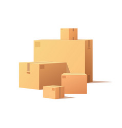 Cardboard boxes big and small size isolated vector
