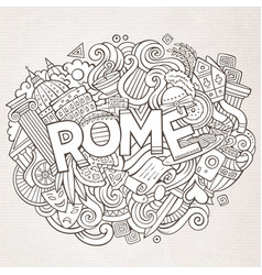 cartoon cute doodles hand drawn rome inscription vector image