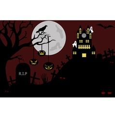 castle view from a cemetery at night vector image