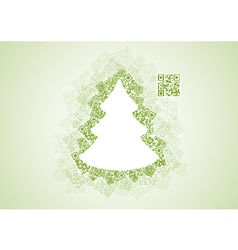 Christmas Tree Shape Patchwork of QR Codes vector image