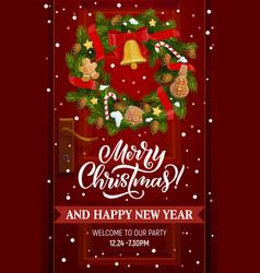 christmas wreath with xmas bell house door decor vector image