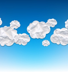 Clouds Crushed Paper And Blue Background vector image