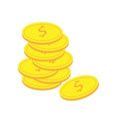 Coins stacked on each other in different positions vector