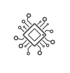 computer chip chalk icon processor memory card vector image