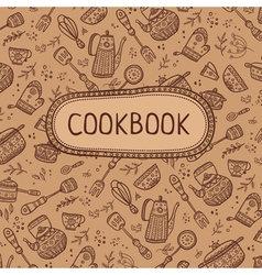 Cookbook with kitchen items vector