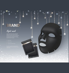 Cosmetic banner with night facial mask vector