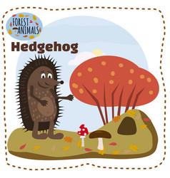 cute cartoon hedgehog on background landscape vector image