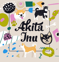 Cute dogs design childish background akita inu vector
