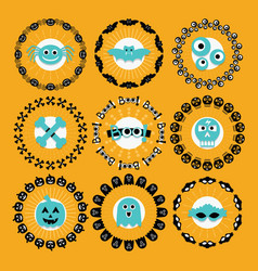 Cute halloween circle border pattern emblems set vector