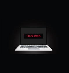 dark web text on screen or display on laptop with vector image