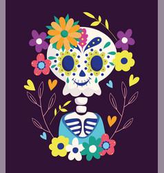 Day dead skeleton flowers festive vector