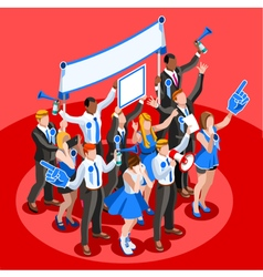 Election Infographic Cheering Crowd Isometric vector image