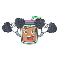 Fitness bubble tea character cartoon vector