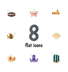 Flat icon sea set of scallop conch cancer and vector