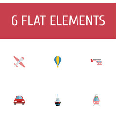 Flat icons chopper automobile aircraft and other vector