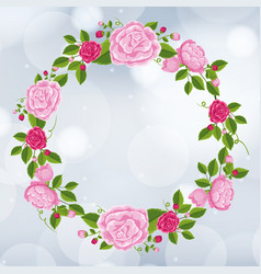 Frame template design with pink roses vector