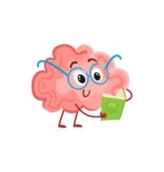 Funny smiling brain in round glasses reading a vector