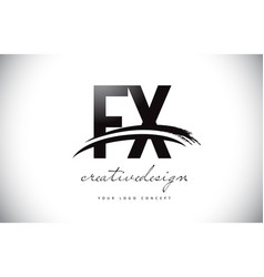 Fx f x letter logo design with swoosh and black vector