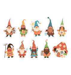 gnome characters cute festive dwarfs with vector image
