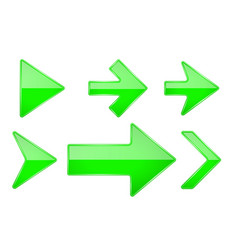 green arrows shiny 3d glass icons vector image