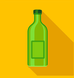 Green empty bottle icon flat style vector