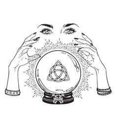 Hand drawn magic crystal ball with triquetra vector
