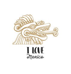 handwritten phrase i love mexico with drawn aztec vector image