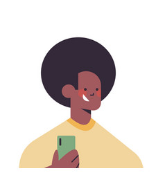 Happy african american man using smartphone vector