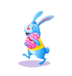 happy easter bunny in yellow shirt with egg vector image