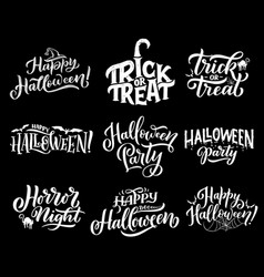 happy halloween holiday lettering vector image