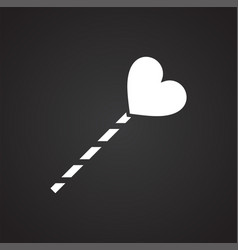 Heart on stick icon on black background for vector