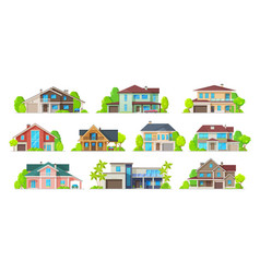 house home cottage building icons real estate vector image