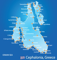 Island of cephalonia in greece map vector