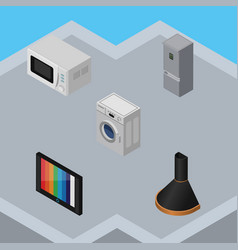 Isometric appliance set of air extractor kitchen vector