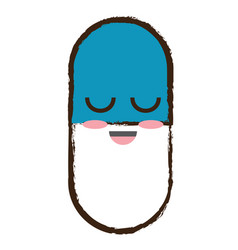 Kawaii pill icon vector