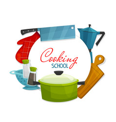 kitchen appliances cooking school utensils vector image